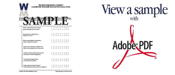 View a sample of the Classroom Teacher Evaluation Scale in Adobe PDF format